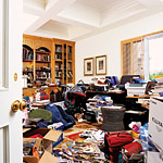 Natalie Appell's messy study is in need of some major reorganization.