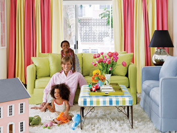 Randy Florke and his daughters in their Miami Beach living room
