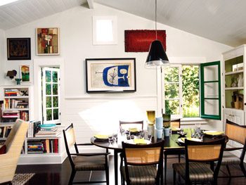 A combination of serious design elements and whimsy is seen in the dining room.