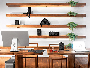 Tina and James designed the American walnut shelves in the home office.