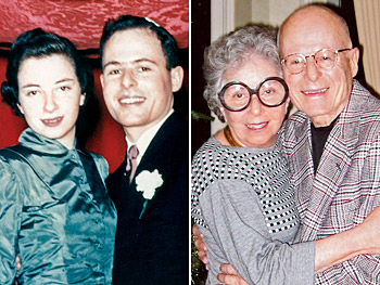 Sylvia Weinstock and her husband, Ben, in 1949 and 2004