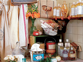 Paint and soap are displayed in the bungalow's old laundry room.
