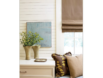 A cottage dressing room is a mix of organic textures.