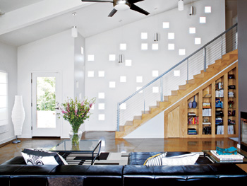 Glass blocks allow ample sunlight in Heather Ferrier's living room.