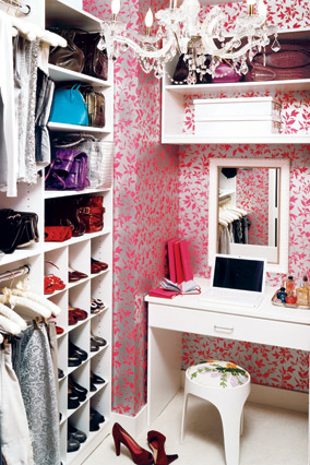 The apartment's hidden treasures include this jewel-box closet.