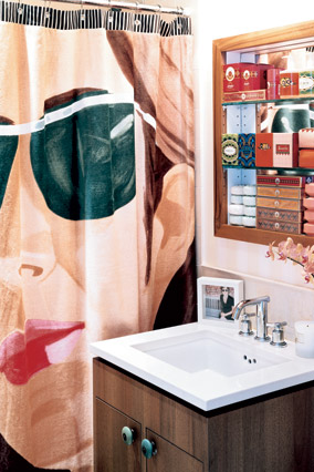 This powder room is full of pizzazz.