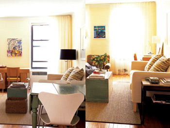 Before and after furniture is rearranged