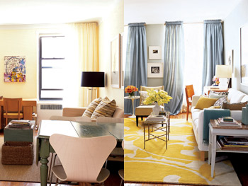 Before and after living room curtains