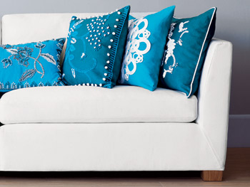 Aqua blue pillows