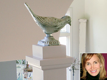 Kristin used iron birds to dress up her stairway newels.