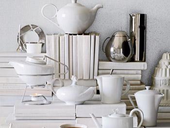 White accentuates teapots.