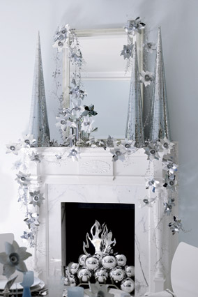 Modern mantel with silver accents