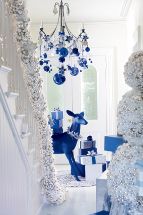 Silver and blue holiday decorations
