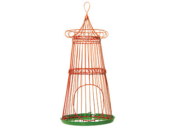 Red iron bird feeder
