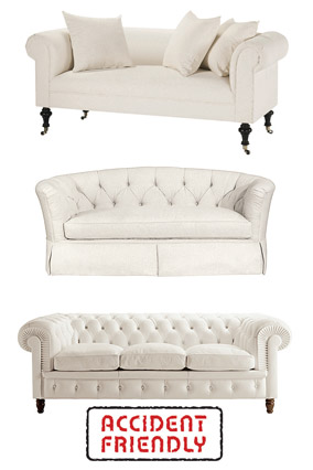 Formal white sofas