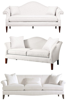 Traditional white sofas