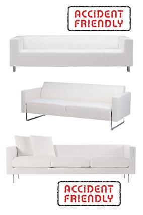 Minimalist white sofas