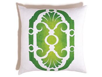 Green parterre print throw pillow