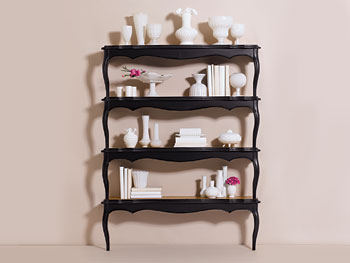 Bookcase with milk-glass vases