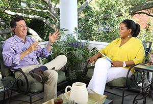 Stephen Colbert and Oprah Winfrey