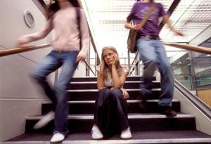 Teenage girl on stairwell
