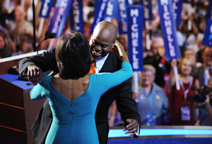 Craig Robinson and Michelle Obama at the 2008 Democratic National Convention