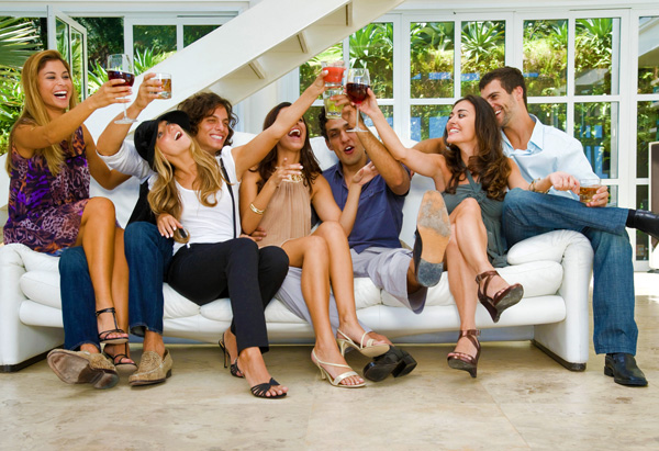 Party-goers toasting