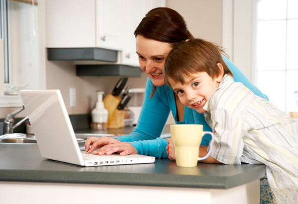 Mom and child on computer
