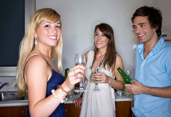 Confident woman at a party