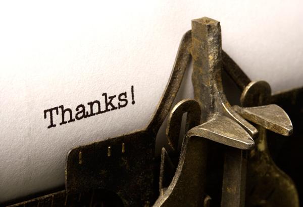 Typewriter that says thanks