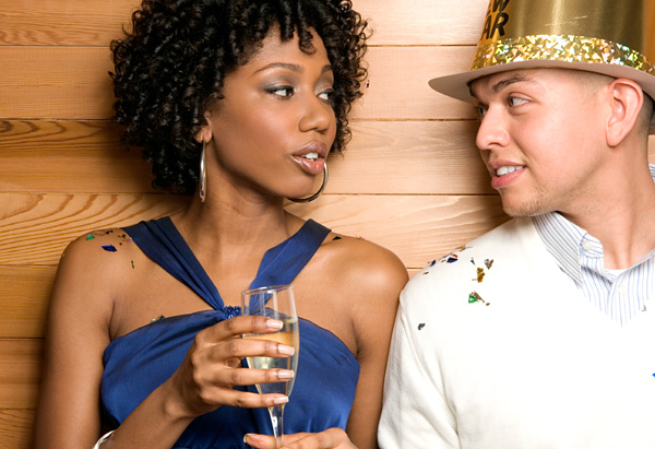 Man and woman meeting at a party