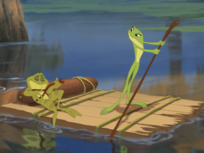 Princess Tianna and Prince Naveen as frogs