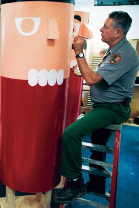 Larry Forrest of the national Park Service assembles 12-foot-tall nutcrackers for Mrs. Bush's 2003 Christmas, A Season of Stories.