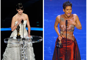 Halle Berry and Penelope Cruz accepting their Oscars