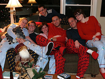 People in matching pajamas