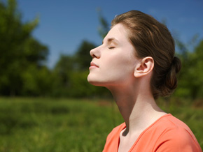 Woman focused on her breathing