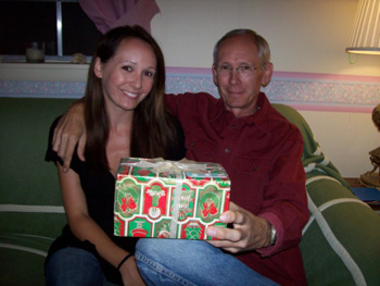 Clarissa and her father with unopened present
