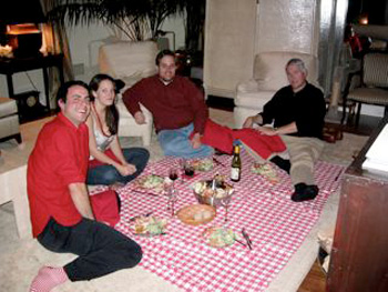 Family indoor picnic