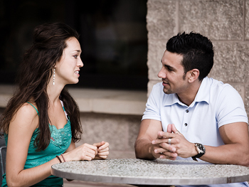 Couple in engaged conversation
