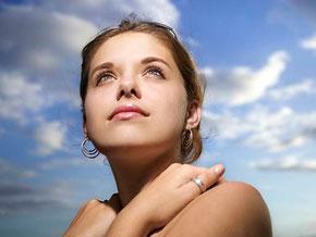 Woman looking toward the sky