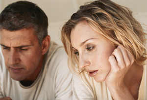 Confused woman with husband