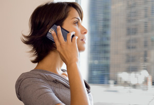 Concerned woman on phone