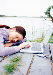 Woman taking break from computer