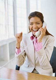 Woman receiving some good news