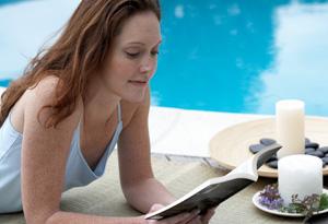 Peaceful woman reading