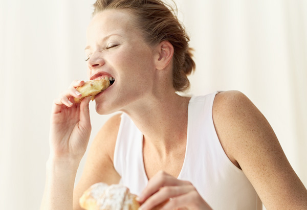 Woman eating badly