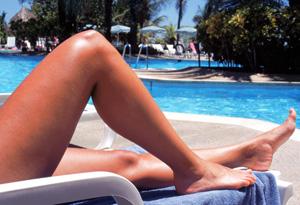 Sunburnt legs