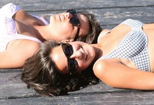Women tanning