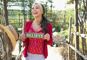Woman believing in herself