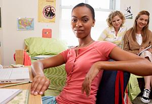 Girls in college dorm room
